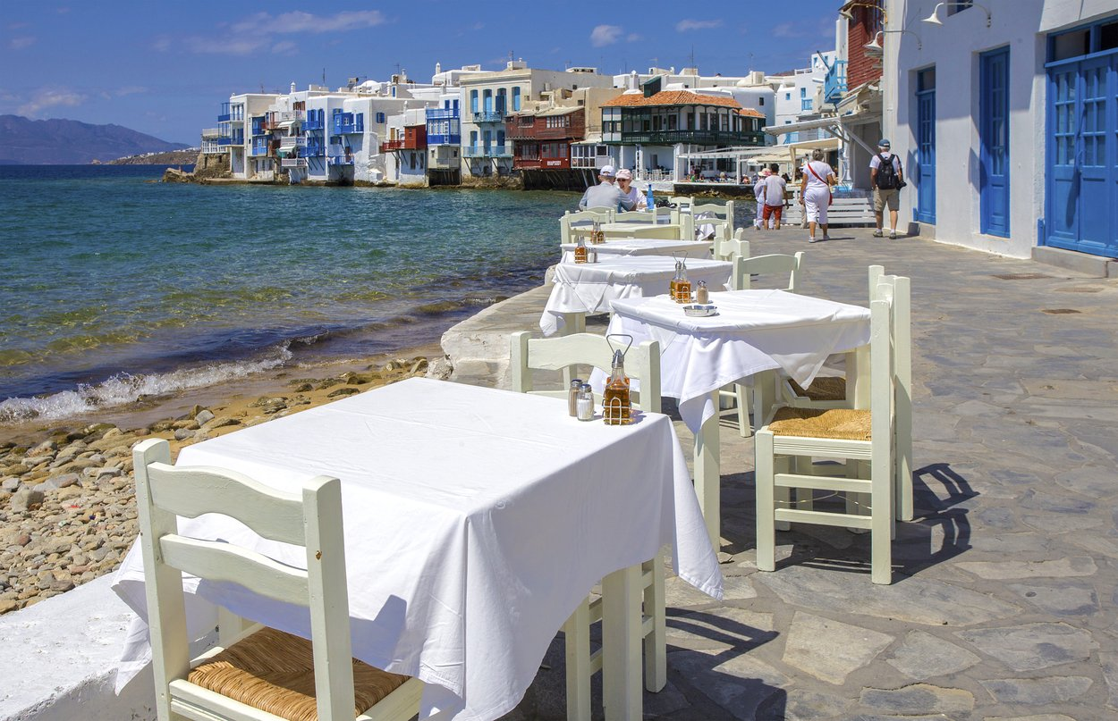 Restaurant by the sea, Little Venice, Mykonos City, Mykonos, Cyclades, Aegean Sea, Greece, Image: 396502769, License: Rights-managed, Restrictions: , Model Release: no, Credit line: Profimedia, imageBROKER