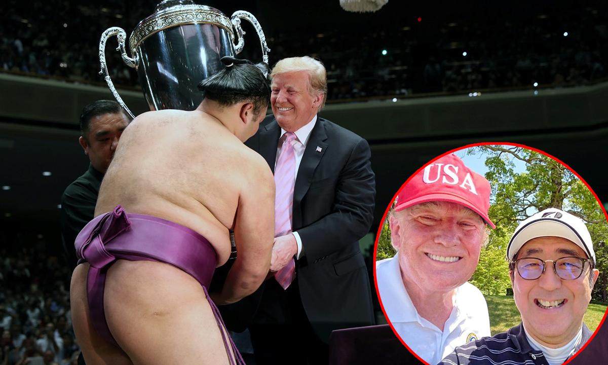 Donald Trump, sumo-borac Asanoyama i Shinzo Abe