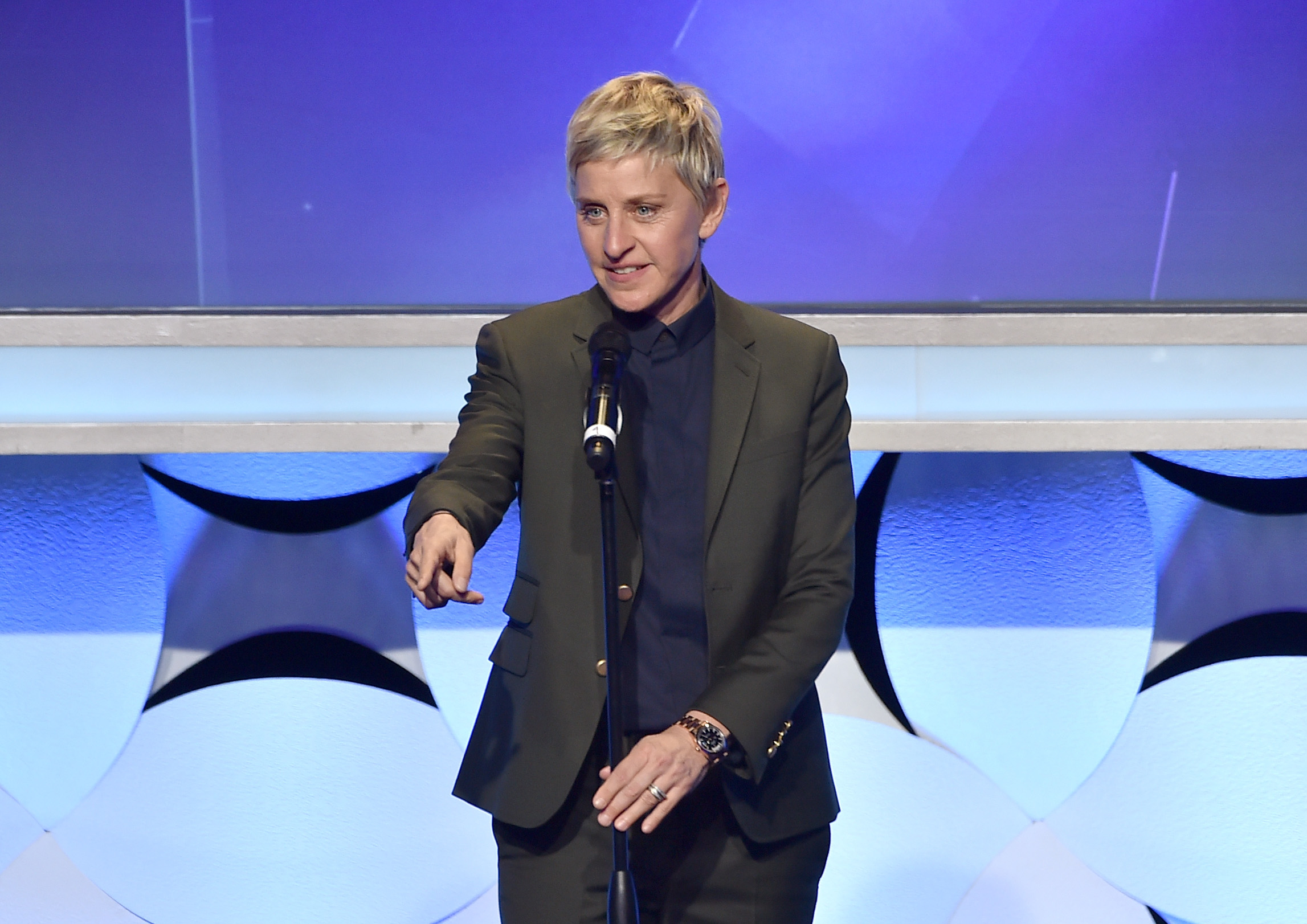BEVERLY HILLS, CA - MARCH 21:  TV personality Ellen DeGeneres speaks onstage during the 26th Annual GLAAD Media Awards at The Beverly Hilton Hotel on March 21, 2015 in Beverly Hills, California.  (Photo by Kevin Winter/Getty Images for GLAAD)