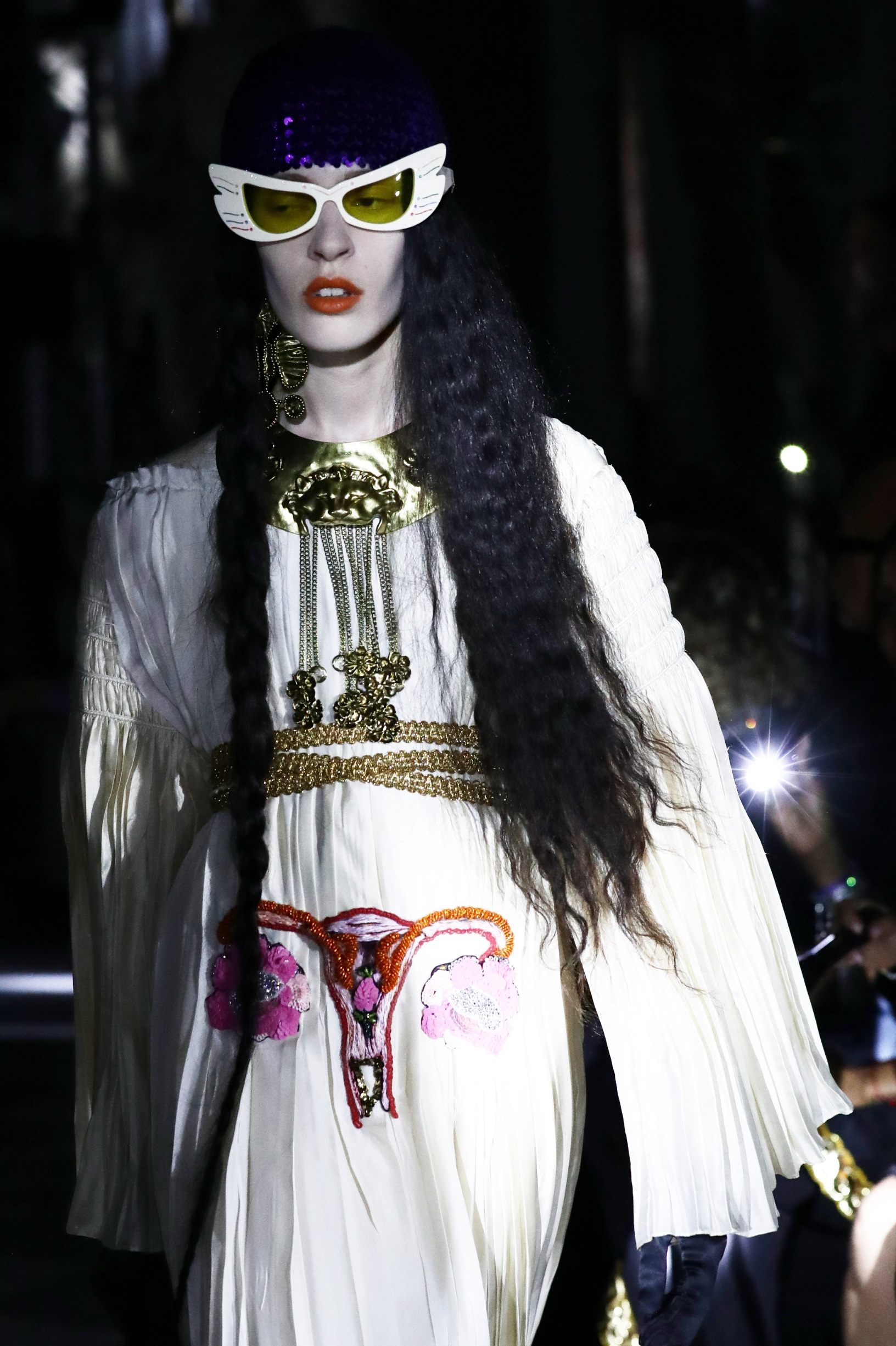 ROME, ITALY - MAY 28: A model walks the runway at the Gucci Cruise 2020 on at Musei Capitolini on May 28, 2019 in Rome, Italy. (Photo by Vittorio Zunino Celotto/Getty Images for Gucci)