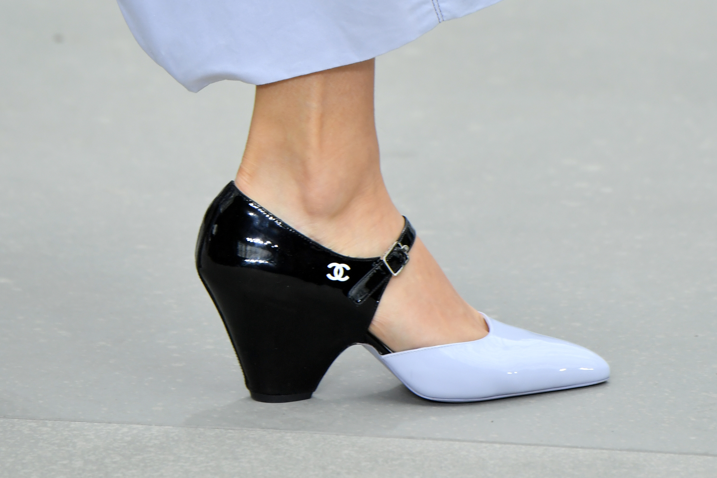 PARIS, FRANCE - MAY 03: A model,shoe detail, walks the runway during Chanel Cruise 2020 Collection at Le Grand Palais on May 03, 2019 in Paris, France. (Photo by Pascal Le Segretain/Getty Images)