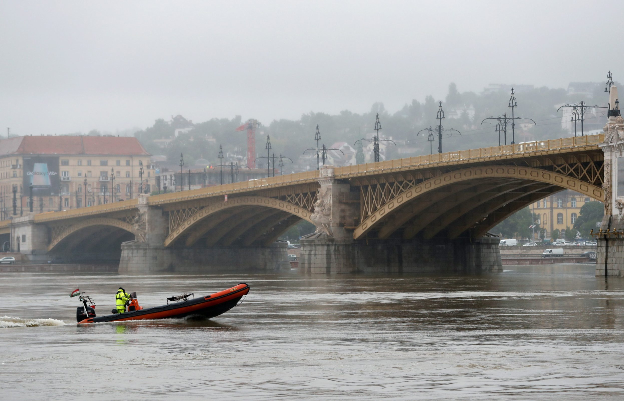 A rescue boat is seen after a ship accident that killed several people on the Danube river in Budapest, Hungary, May 30, 2019. REUTERS/Bernadett Szabo