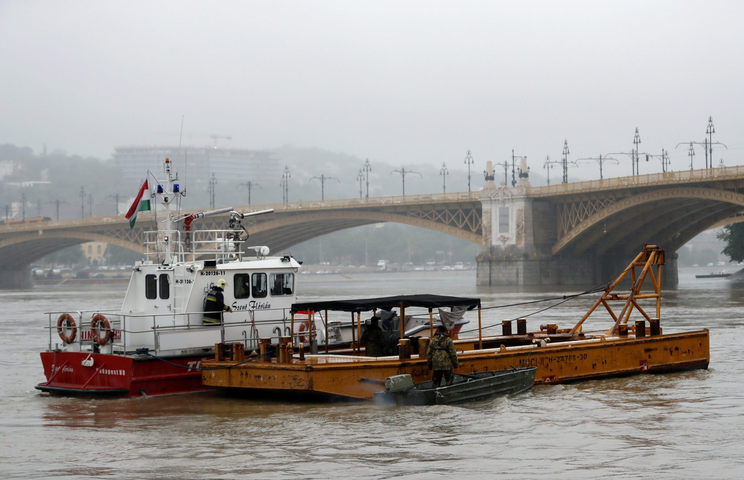A fire brigade rescue boat is seen after a ship accident that killed several people on the Danube river in Budapest, Hungary, May 30, 2019. REUTERS/Bernadett Szabo