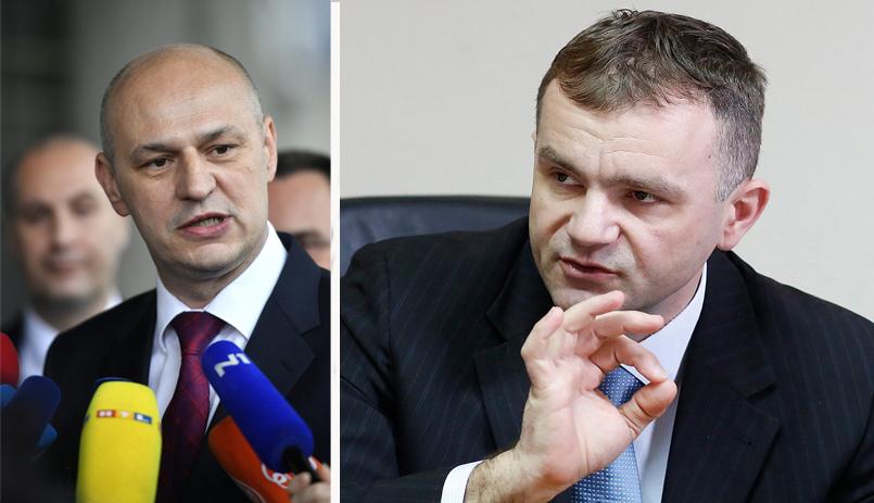 Bivši sudac i izabrani zastupnik u Europskom parlamentu Mislav Kolakušić i predsjednik zagrebačkog Trgovačkog suda Nino Radić