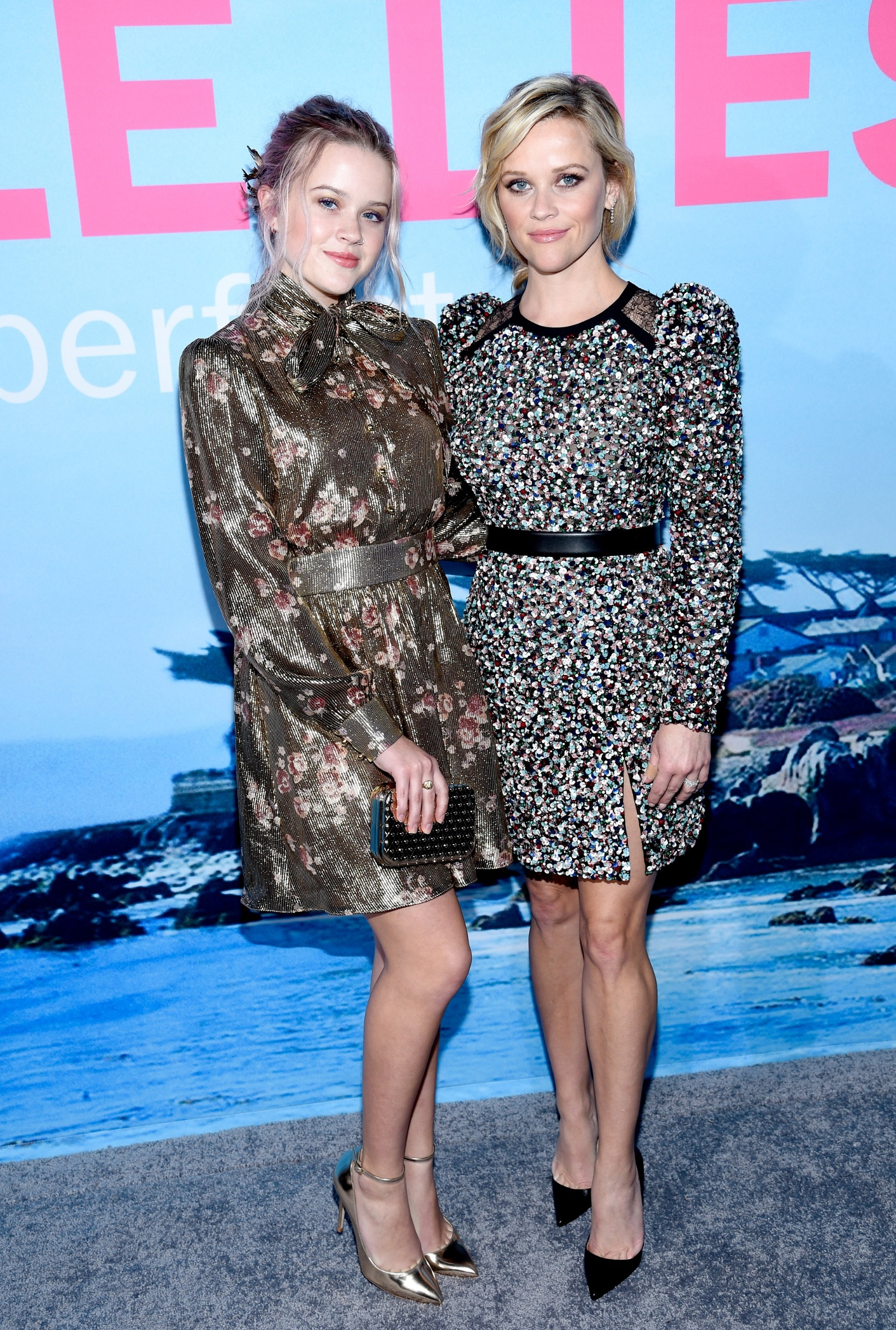 HOLLYWOOD, CA - FEBRUARY 07:  Ava Elizabeth Phillippe (L) and actress Reese Witherspoon attend the premiere of HBO's