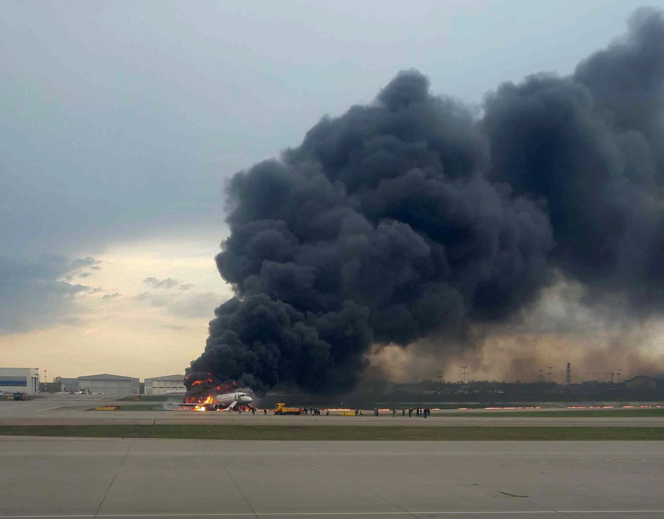 A passenger plane is seen on fire after an emergency landing at the Sheremetyevo Airport outside Moscow, Russia May 5, 2019.  REUTERS/Nadezhda Polomoshnova  NO RESALES. NO ARCHIVES