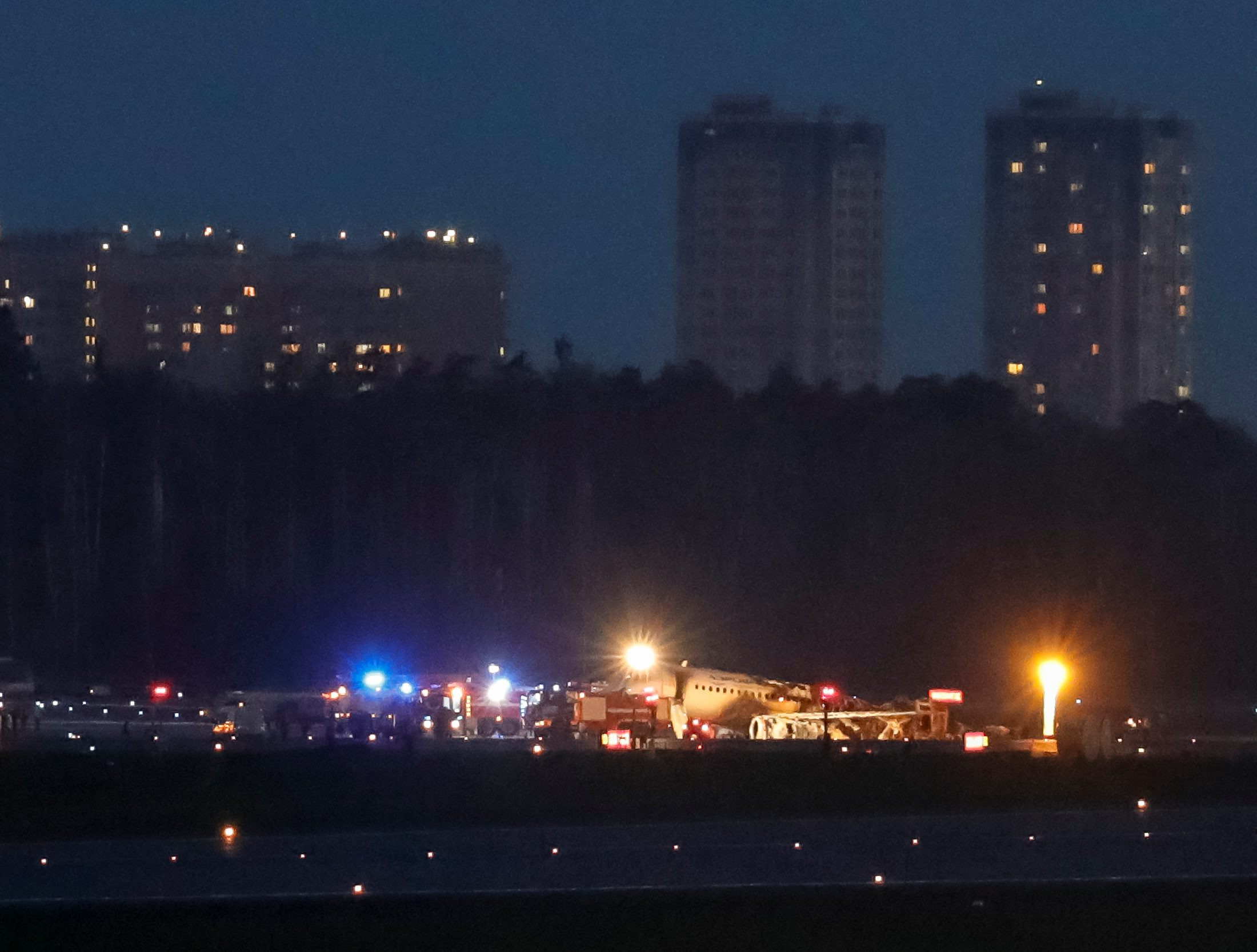 The wreckage of a passenger plane is seen after an emergency landing at the Sheremetyevo Airport outside Moscow, Russia May 5, 2019. REUTERS/Tatyana Makeyeva