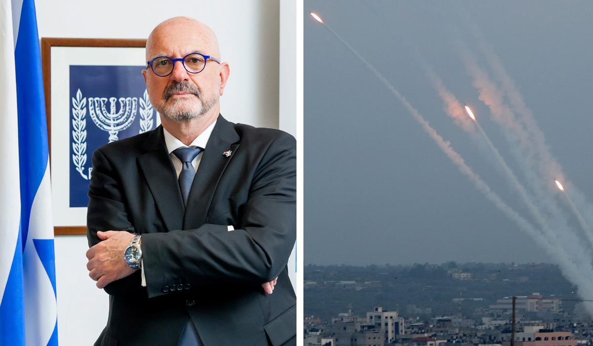 Ilan Mor, veleposlanik Izraela u Hrvatskoj (lijevo); rakete ispaljene iz Gaze prema Izraelu (desno)