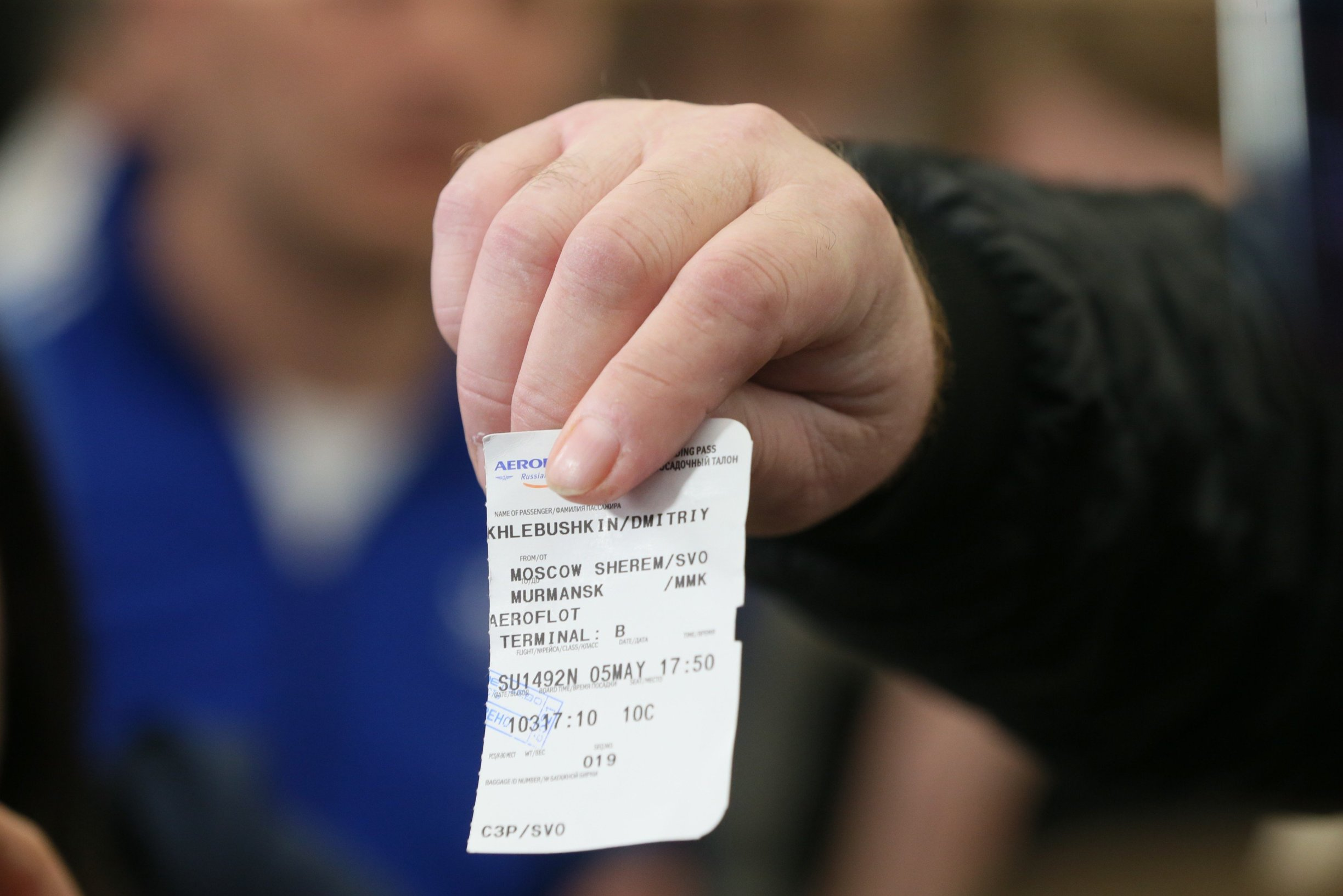 MOSCOW REGION, RUSSIA - MAY 5, 2019: Dmitry Khlebushkin, one of the survivors of Aeroflot Flight RA-89098 to Murmansk, shows his ticket as he speaks at Sheremetyevo Airport after the crash landing; the Aeroflot Sukhoi Superjet-100 (SSJ100) passenger aircraft left Sheremetyevo for Murmansk as around 6pm Moscow time, returned and made an emergency landing at around 6.40pm Moscow time; the crashlanding and the fire aboard the aircraft have resulted in casualties. Vladimir Gerdo/TASS, Image: 431023083, License: Rights-managed, Restrictions: , Model Release: no, Credit line: Profimedia, TASS
