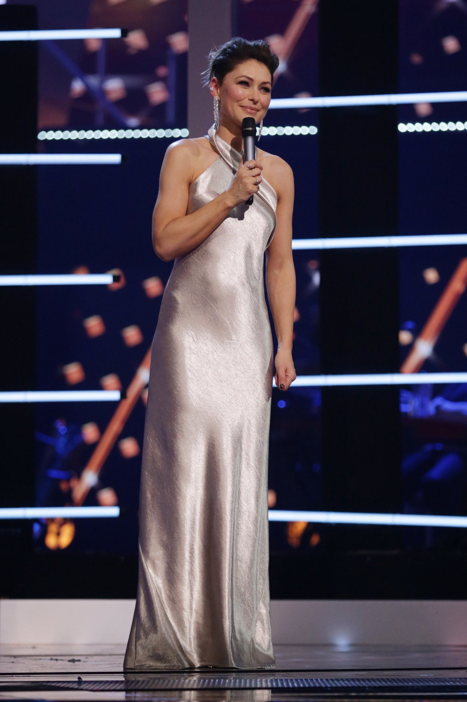 Emma Willis 'The Voice UK' TV Show, Series 7, Episode 14, The Final, London, UK - 07 Apr 2018, Image: 367963015, License: Rights-managed, Restrictions: Editorial Use Only/No Merchandising, Model Release: no, Credit line: Profimedia, TEMP Rex Features
