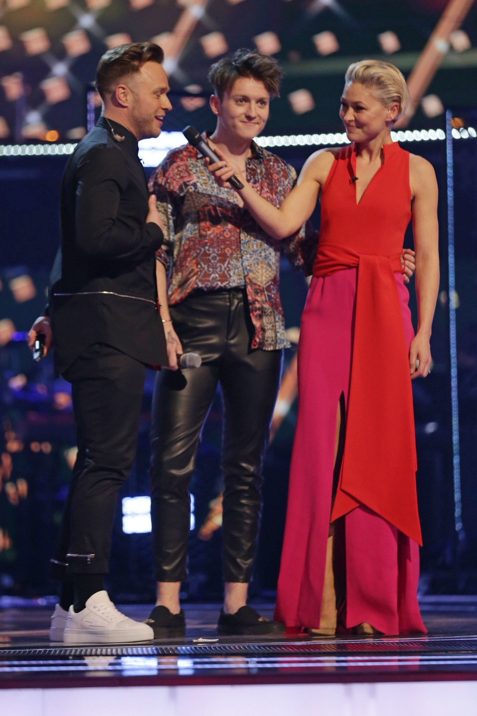 Olly Murs, Jimmy Balito and Emma Willis 'The Voice UK' TV Show, Series 3, Episode 14, London, UK - 06 Apr 2019, Image: 424757696, License: Rights-managed, Restrictions: Editorial use only, Model Release: no, Credit line: Profimedia, TEMP Rex Features