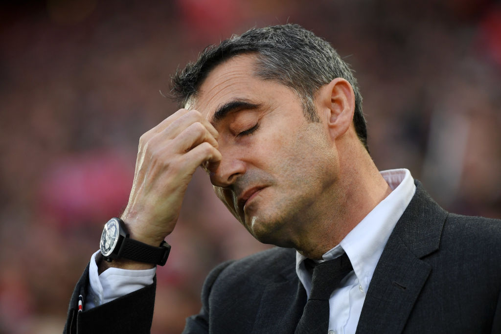 LIVERPOOL, ENGLAND - MAY 07:  Ernesto Valverde, Manager of Barcelona reacts during the UEFA Champions League Semi Final second leg match between Liverpool and Barcelona at Anfield on May 07, 2019 in Liverpool, England. (Photo by Shaun Botterill/Getty Images)