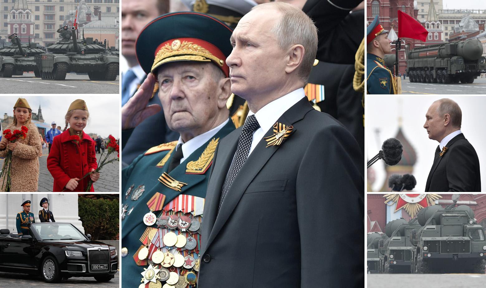Vladimir Putin i scene s vojne parade za Dan pobjede