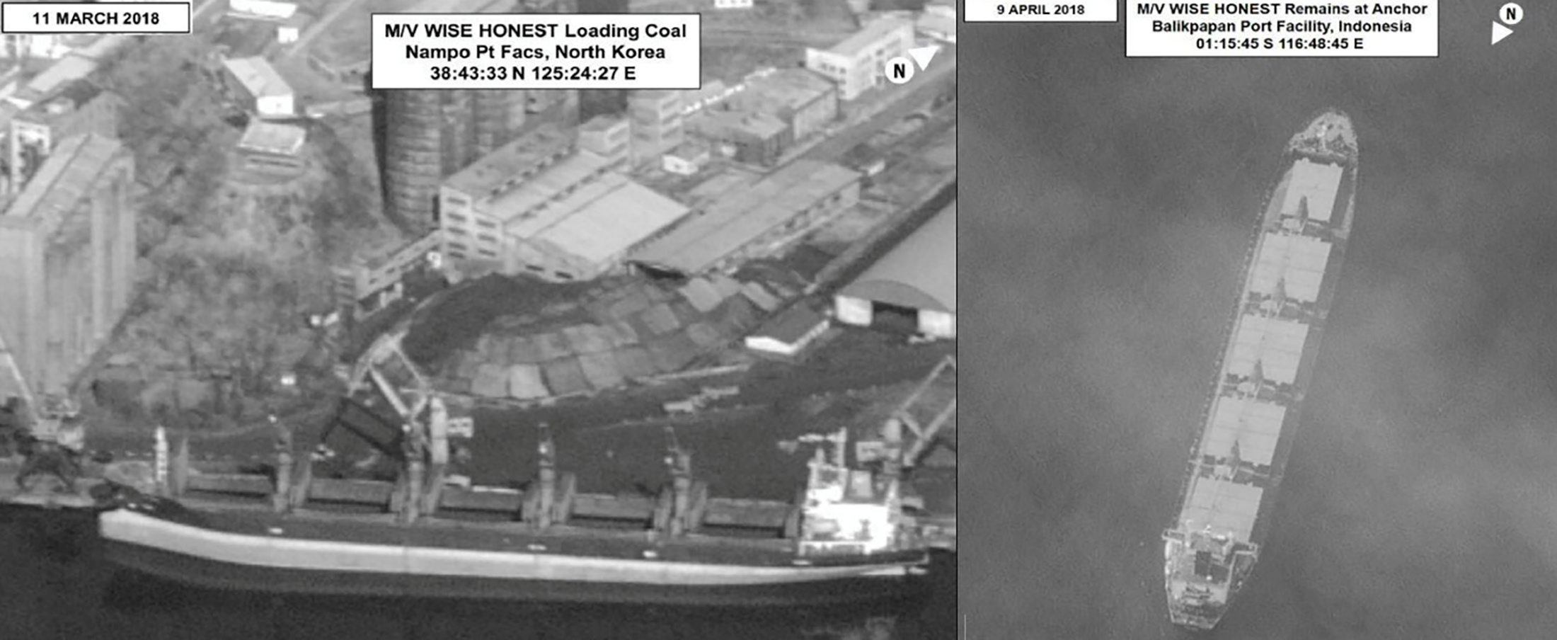 Surveillance images provided in a U.N. Security Council North Korea sanctions report distributed March 5, 2019 show what is described as the North Korean vessel Wise Honest being loaded with coal in Nampo, North Korea March 11, 2018 (L) and later at Balikpapan Port Facility, Indonesia April 9, 2018. United Nations Security Council/Handout via REUTERS. ATTENTION EDITORS - THIS IMAGE WAS PROVIDED BY A THIRD PARTY.