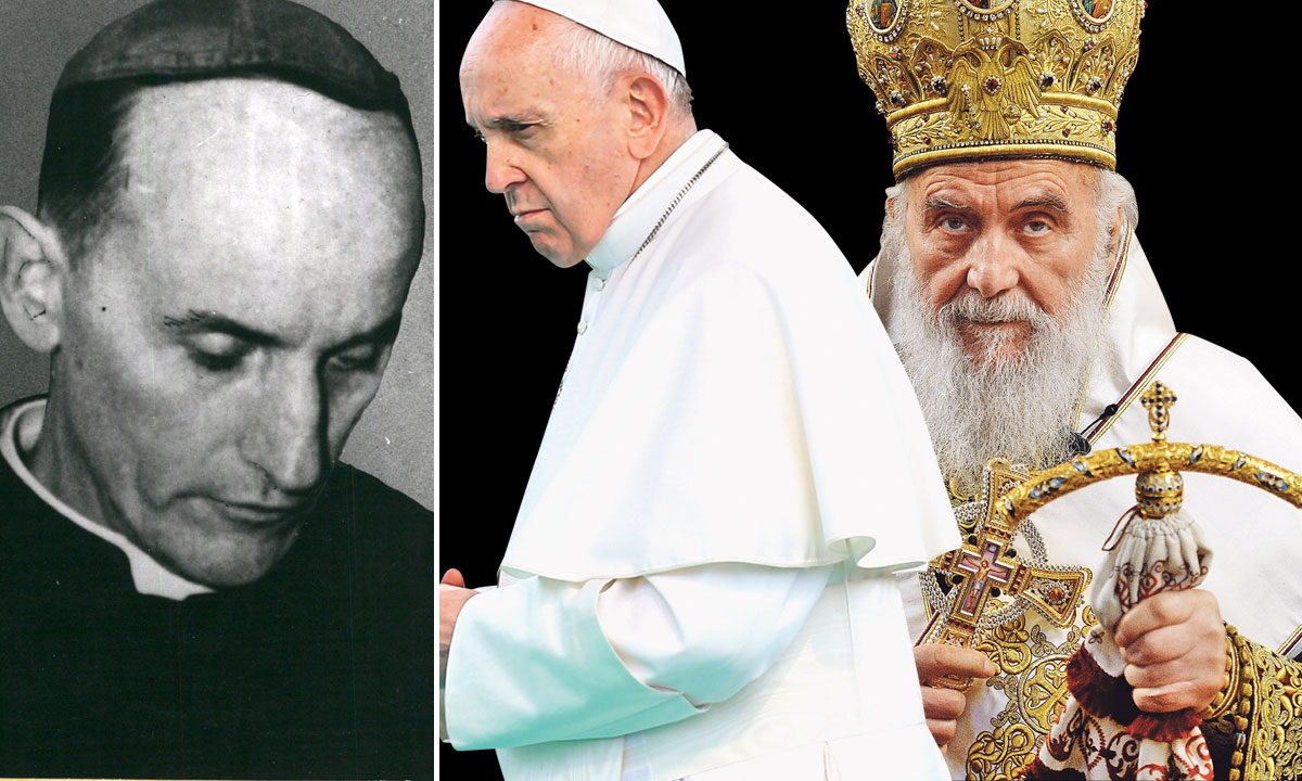Alojzije Stepinac (lijevo), papa Franjo (u sredini), patrijarh Irinej (desno)