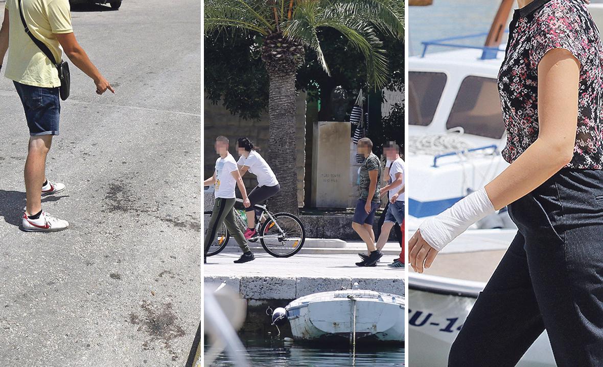 Napadnute mladiće i djevojku (desno) primila je jučer gradonačelnica Supetra. Brutalni napad dogodio se u blizini prostorija Torcide Brač gdje se još vide tragovi krvi na ulici (lijevo)