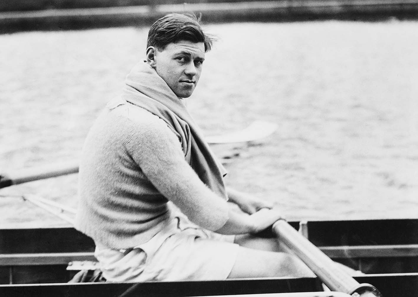 Cambridge student Ran Laurie (1915 - 1998) in training for the Oxford and Cambridge Boat Race, 28th February 1935. Laurie later won a gold medal a gold medal in the coxless pairs event at the 1948 Olympics. His youngest son is the actor and comedian Hugh Laurie. (Photo by Fox Photos/Hulton Archive/Getty Images)
