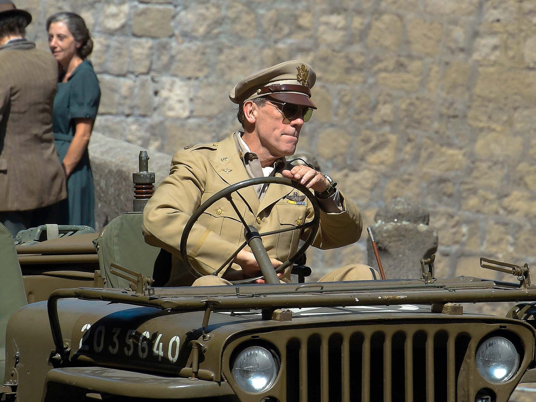 Actor Hugh Laurie is spotted in Viterbo driving a military jeep on the set of the serie Catch-22. 02 Aug 2018, Image: 380793604, License: Rights-managed, Restrictions: World Rights, Model Release: no, Credit line: Profimedia, Mega Agency