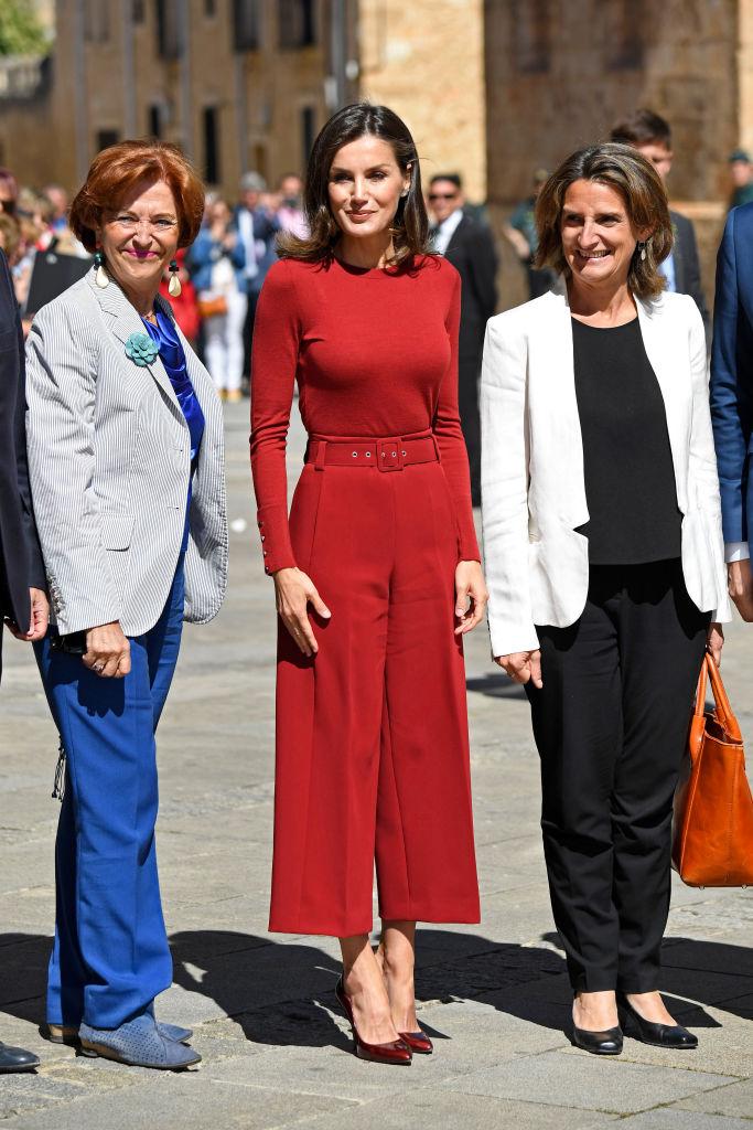 BURGO DE OSMA, SPAIN - JUNE 12: Queen Letizia Of Spain attends the closure Of Journalist's Seminar 'Como Los Medios De Comunicacion Pueden Ayudar A Repoblar La España Rural'  on June 12, 2019 in Burgo de Osma, Spain. (Photo by Carlos Alvarez/Getty Images)