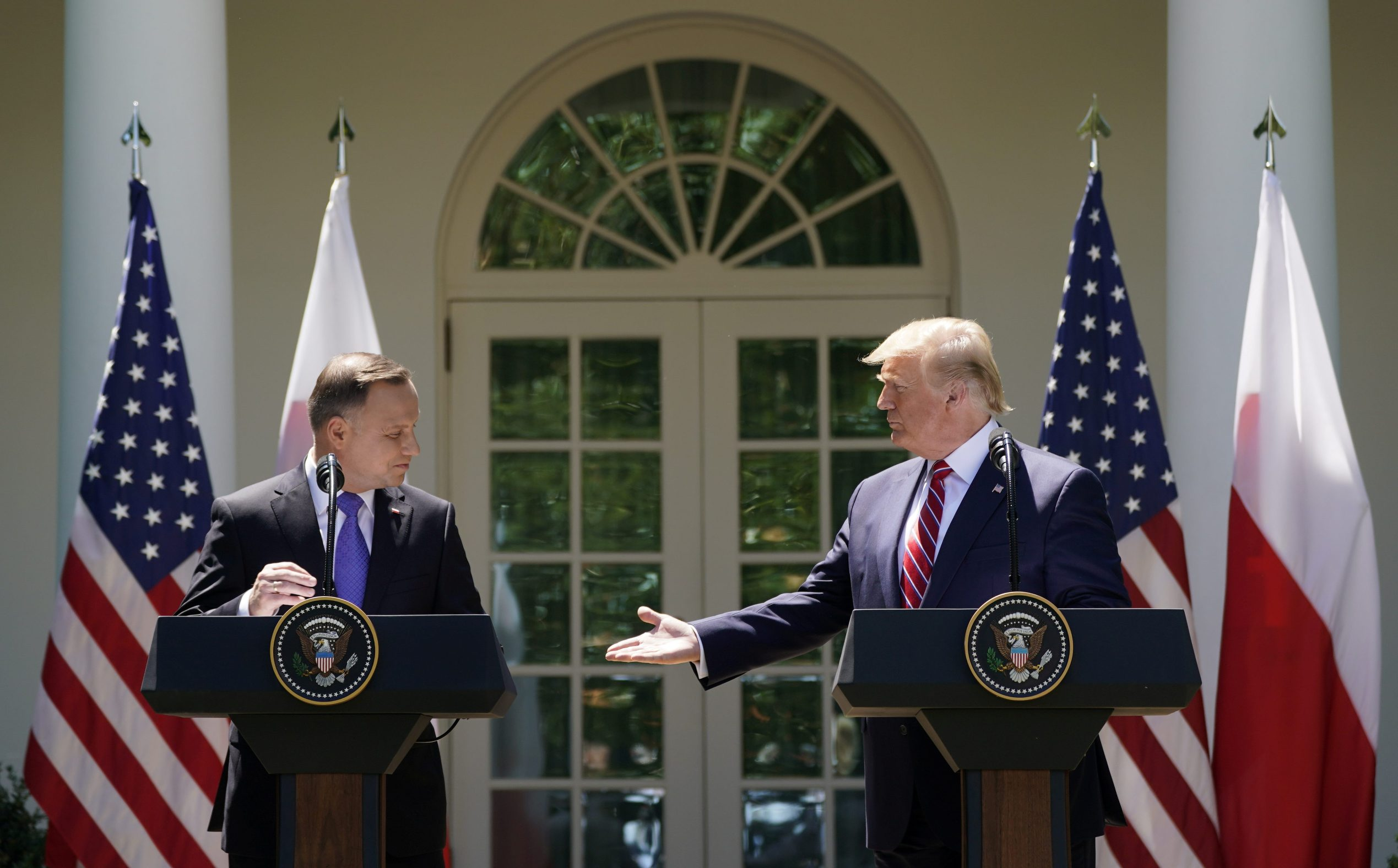 U.S. President Donald Trump and  Poland's President Andrzej Duda hold a joint news conference in the Rose Garden at the White House in Washington, U.S., June 12, 2019. REUTERS/Kevin Lamarque