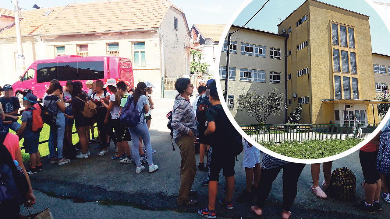 učenici i nastavnici (lijevo), OŠ Kustošija (u krugu)