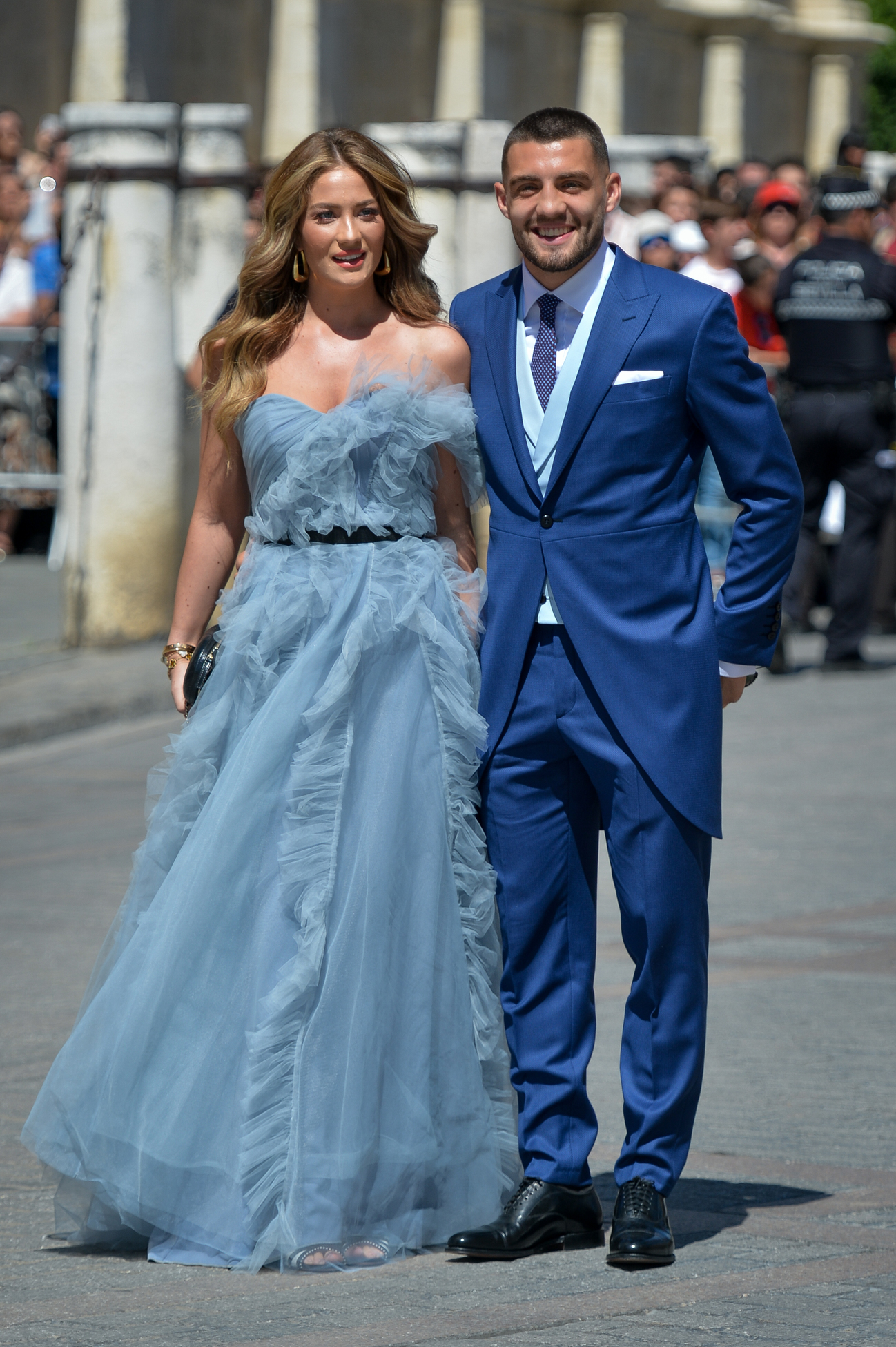 SEVILLE, SPAIN - JUNE 15: Mateo Kovacic and Izabel Andrijanic attend the wedding of real Madrid football player Sergio Ramos and Tv presenter Pilar Rubio at Seville's Cathedral on June 15, 2019 in Seville, Spain. (Photo by Aitor Alcalde/Getty Images)