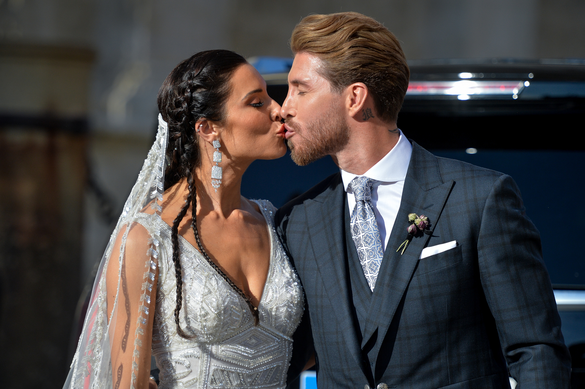 SEVILLE, SPAIN - JUNE 15: The bride Pilar Rubio and Sergio Ramos pose after their wedding at Seville's Cathedral on June 15, 2019 in Seville, Spain. (Photo by Aitor Alcalde/Getty Images)