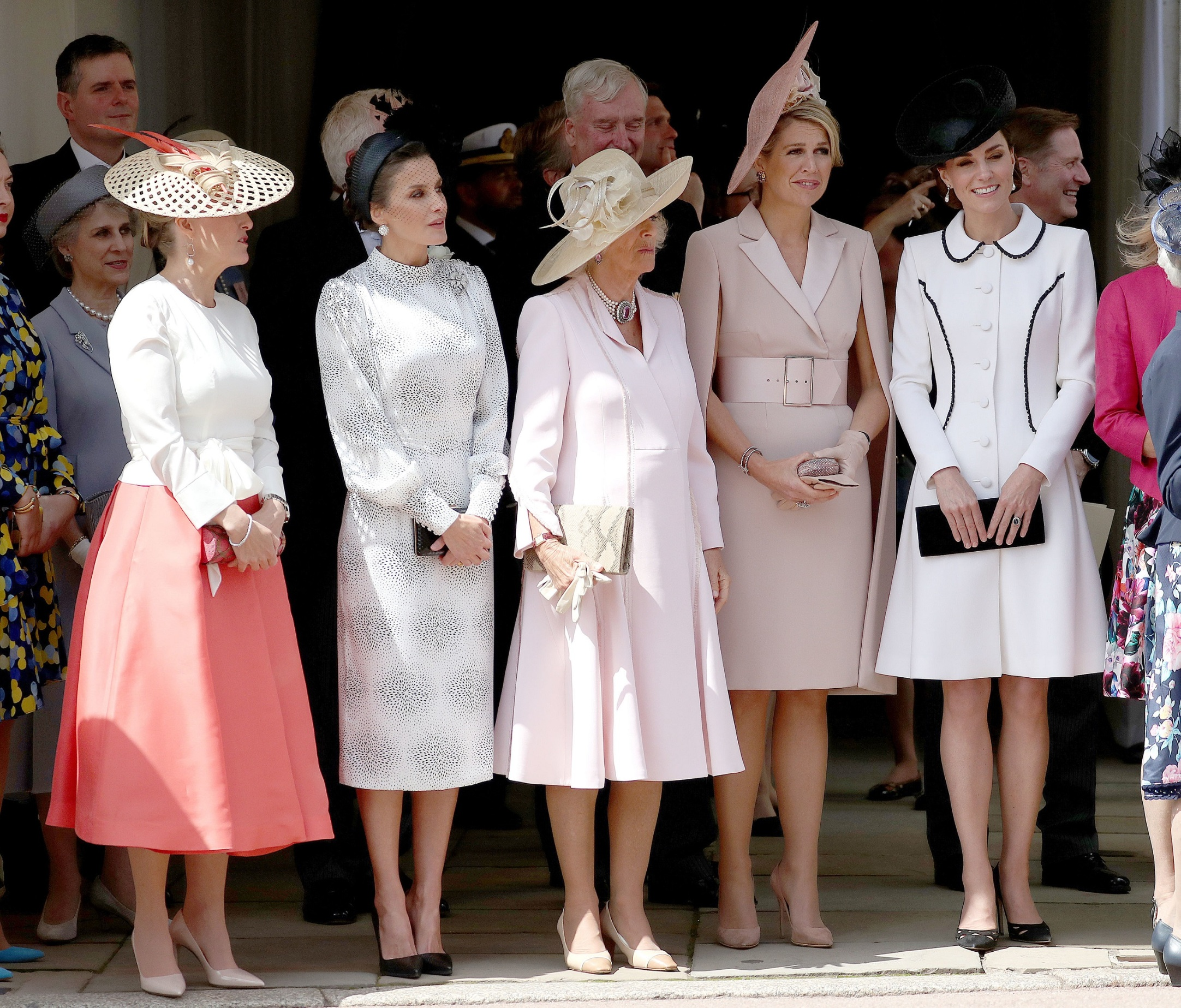 WINDSOR, ENGLAND - JUNE 17: Sophie, Countess of Wessex, Queen Letizia of Spain, Camilla, Duchess of Cornwall, Queen Maxima of the Netherlands and Catherine, Duchess of Cambridge at the Order of the Garter Service at St George's Chapel in Windsor Castle on June 17, 2019 in Windsor, England. The Order of the Garter is the senior and oldest British Order of Chivalry, founded by Edward III in 1348. The Garter ceremonial dates from 1948, when formal installation was revived by King George VI for the first time since 1805. (Photo by Steve Parsons - WPA Pool/Getty Images)