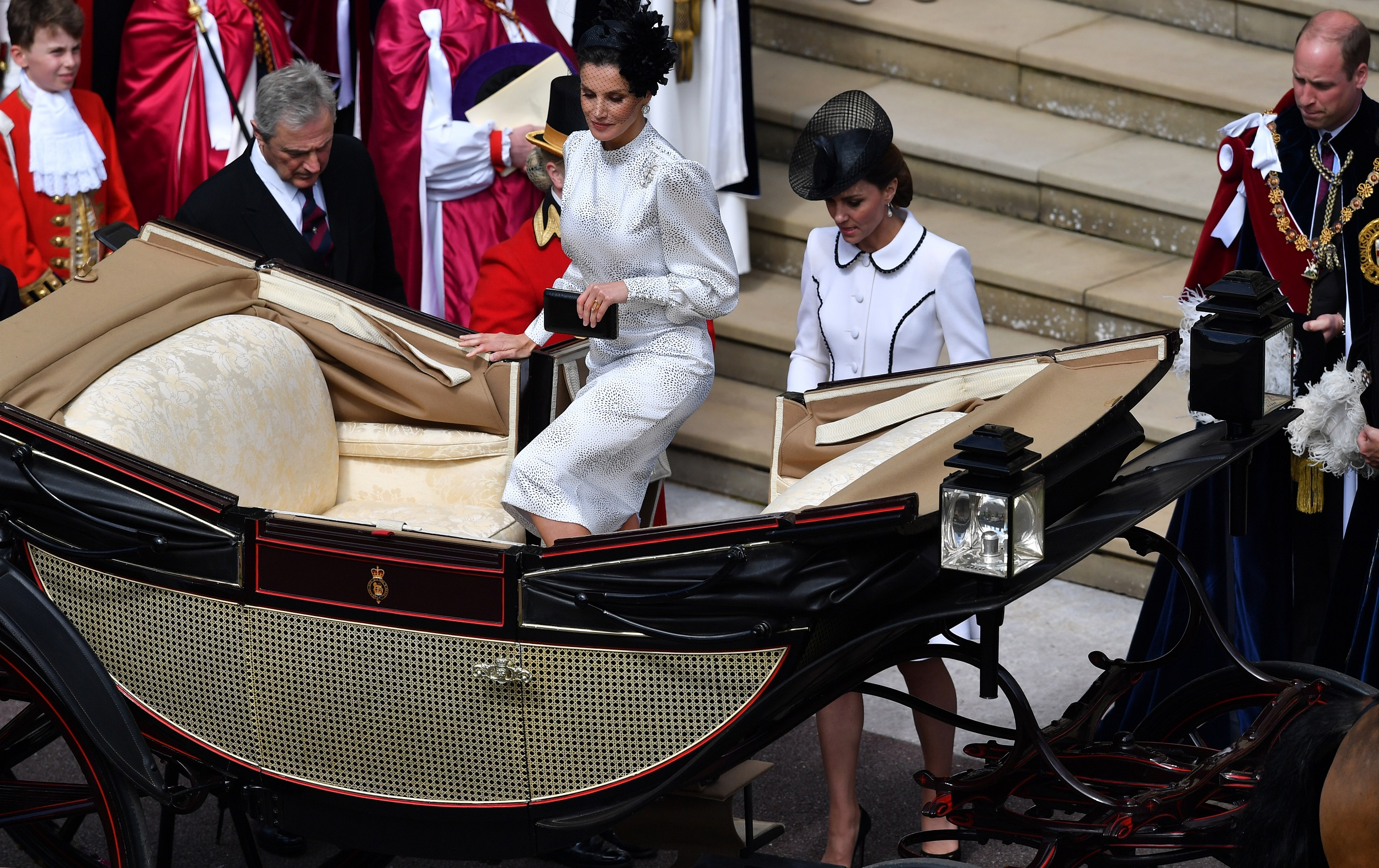 WINDSOR, ENGLAND - JUNE 17: Queen Letizia of Spain and Catherine, Duchess of Cambridge leave the Order of the Garter Service on June 17, 2019 in Windsor, England. The Order of the Garter is the senior and oldest British Order of Chivalry, founded by Edward III in 1348. The Garter ceremonial dates from 1948, when formal installation was revived by King George VI for the first time since 1805. (Photo by Ben Stansall - WPA Pool/Getty Images)