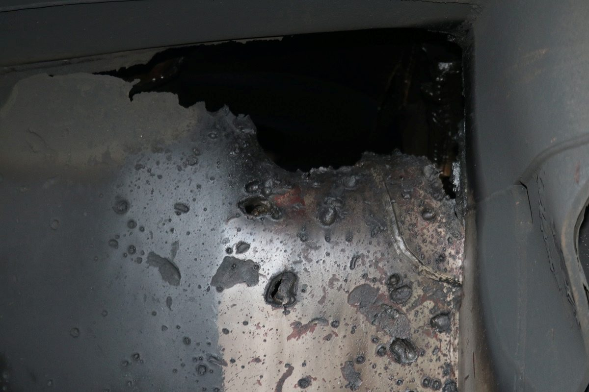 A U.S. military image released by the Pentagon in Washington on June 17 shows what the Pentagon says is a view of internal hull penetration and blast damage sustained from a limpet mine attack on the starboard side of the Japanese owned motor tanker Kokuka Courageous in the Guld of Oman in the waters between Iran and Guld States on June 13, 2019. Picture taken June 14, 2019.  U.S. Navy/Handout via REUTERS   ATTENTION EDITORS-THIS IMAGE HAS BEEN SUPPLIED BY A THIRD PARTY.