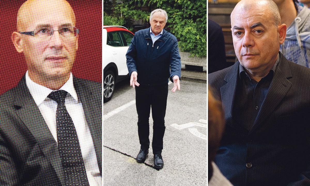 ubijeni direktor Janko Jamnik (lijevo), osumnjičeni Milko Novič (u sredini), Vojin Maštruko, hrvatski forenzičar (desno)