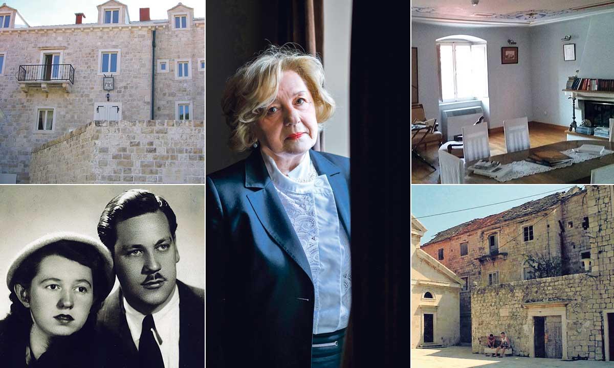 Pročelje palače obitelji Dešković na Braču prije i nakon obnove, Ružica Dešković (u sredini) i njeni roditelji Anđelko i Dragica (dolje lijevo)