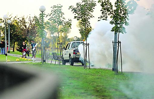 Vukovar, 250814 Tretiranje komaraca uz Dunav u Vukovaru uoci otvorenja Vukovar Film Festivala. Na fotografiji: zaprasivanje komaraca Foto: Emica Elvedji / CROPIX