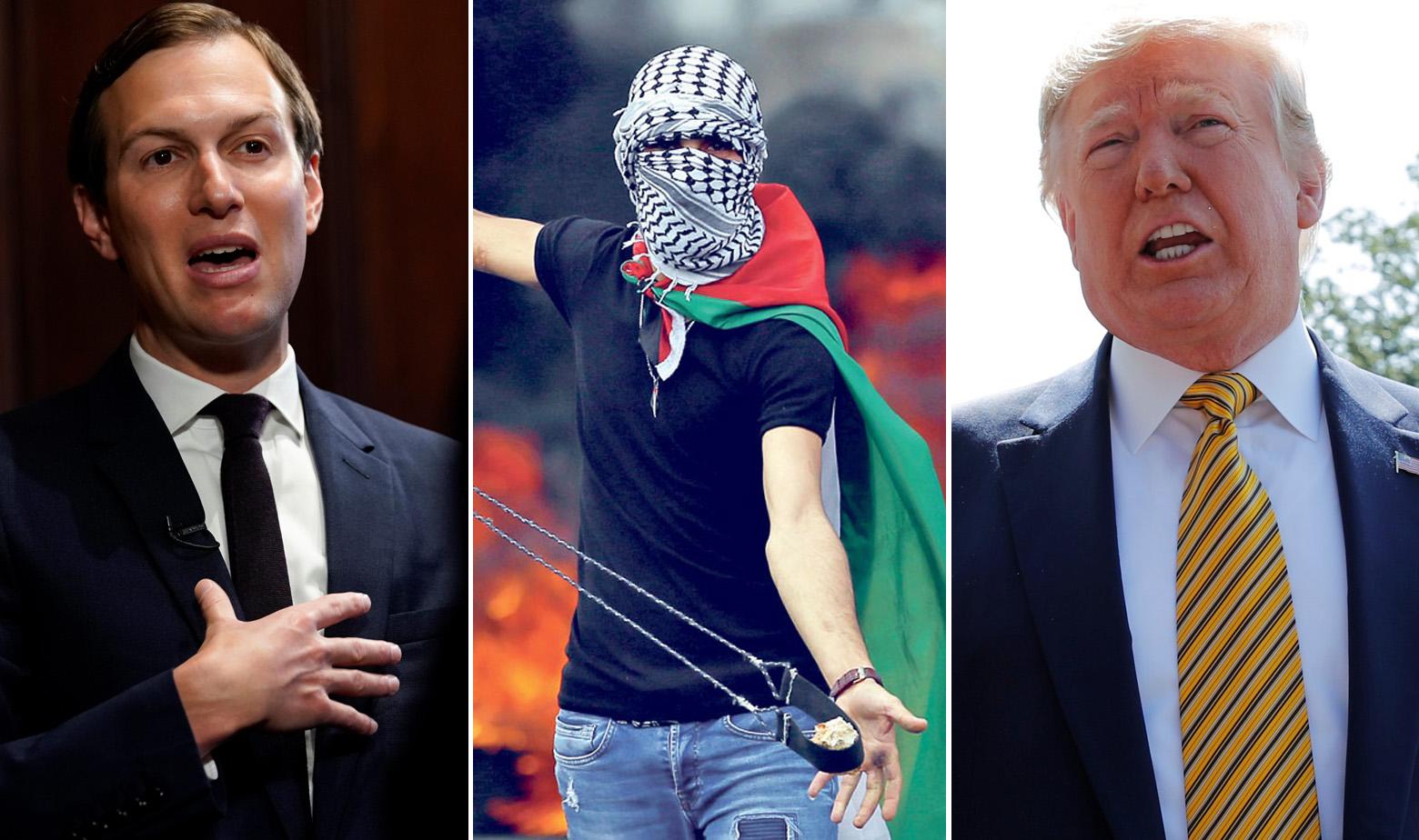 Jared Kushner, ilustracija mladog Palestinca i Donald Trump