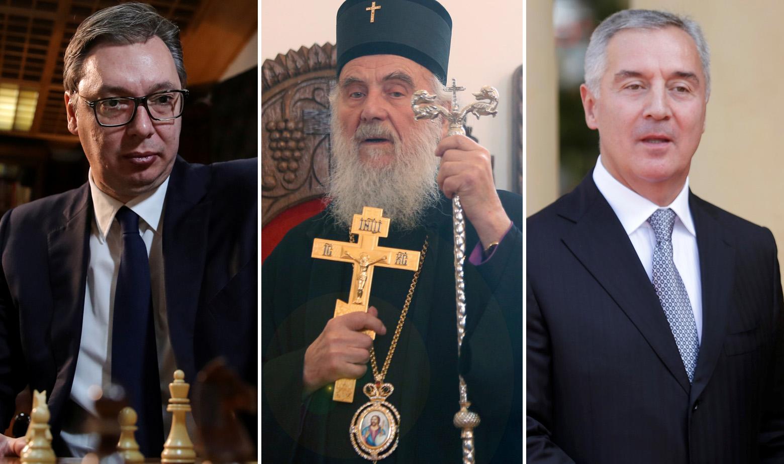 Aleksandar Vučić, patrijarh SPC-a Iriniej i Milo Đukanović