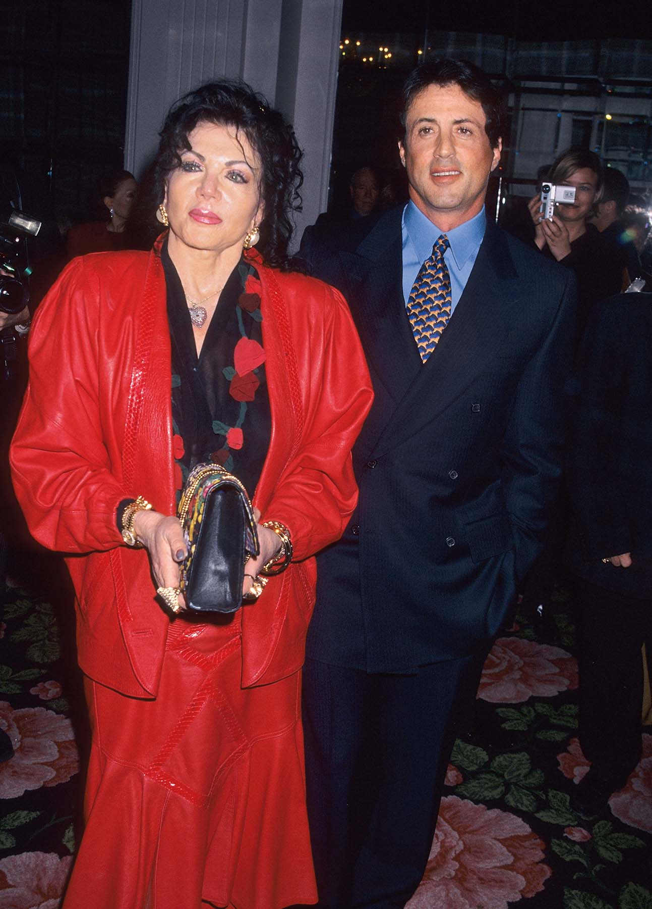 BEVERLY HILLS, CA - DECEMBER 14:   Actor Sylvester Stallone and mother Jackie Stallone attend the Hollywood Women's Press Club's 57th Annual Golden Apple Awards on December 14, 1997 at the Beverly Hilton Hotel in Beverly Hills, California. (Photo by Ron Galella, Ltd./Ron Galella Collection via Getty Images)