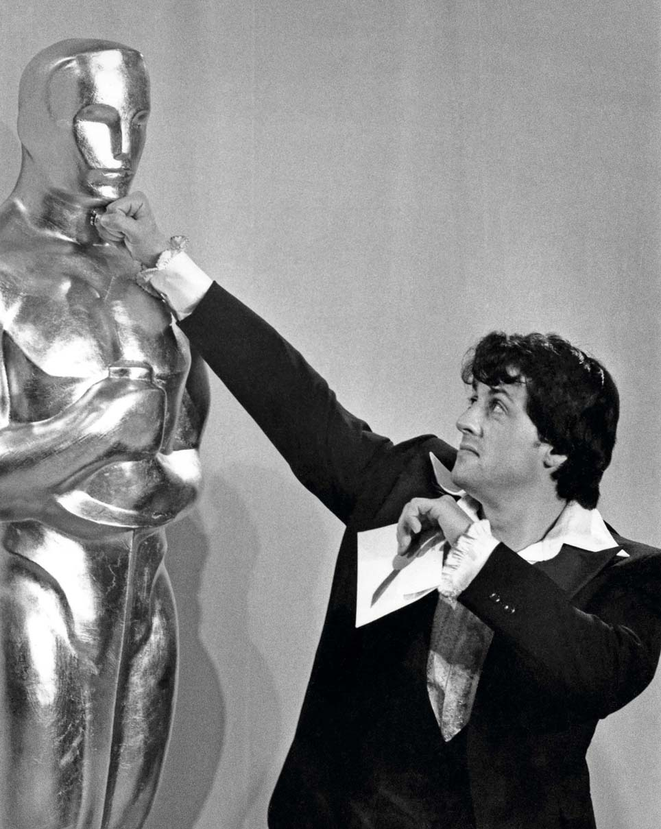 Sylvester Stallone during 49th Annual Academy Awards at Dorothy Chandler Pavillion in Los Angeles, California, United States. (Photo by Ron Galella/Ron Galella Collection via Getty Images)