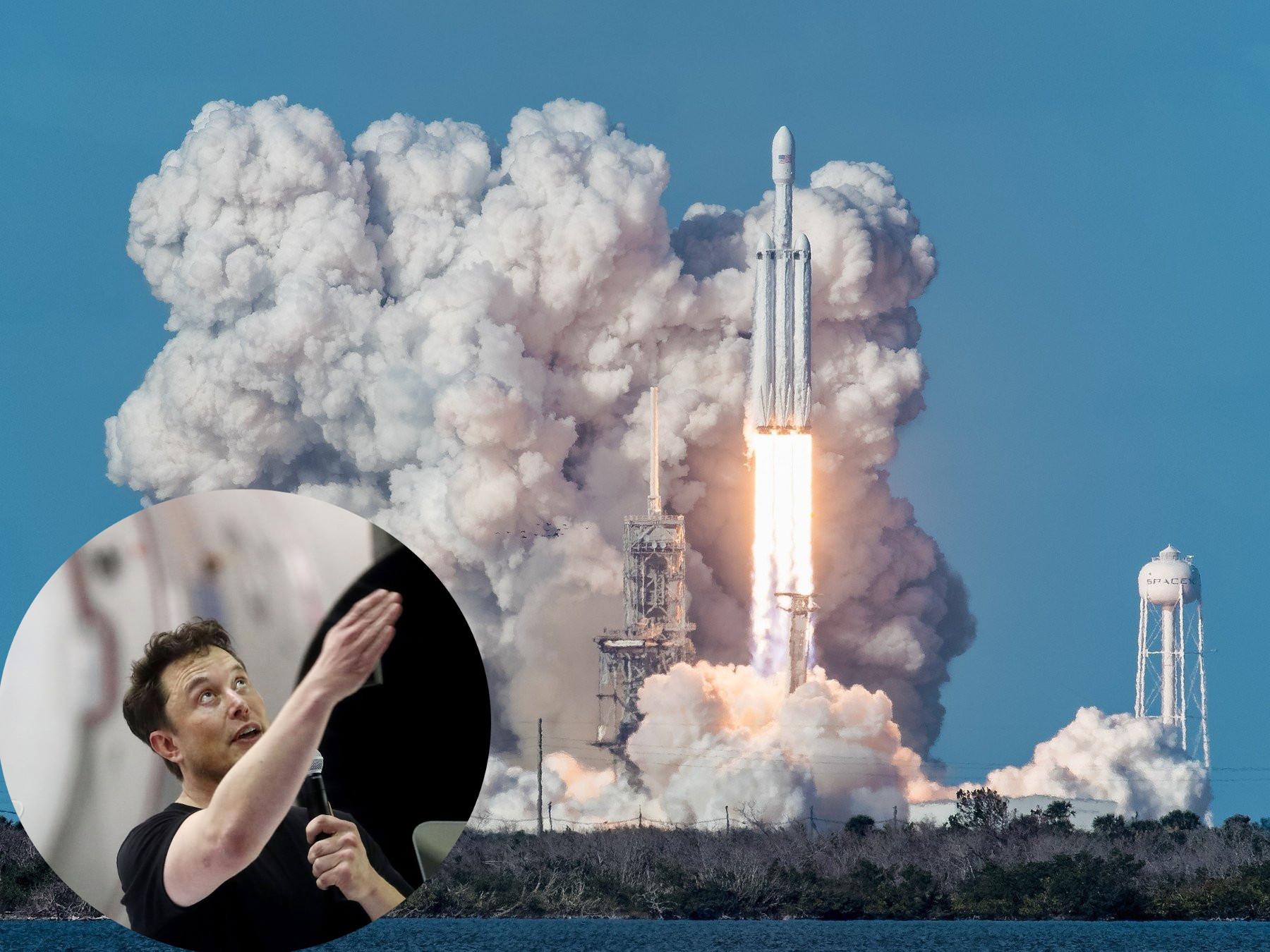 Elon Musk, SpaceX Falcon Heavy pri lansiranju