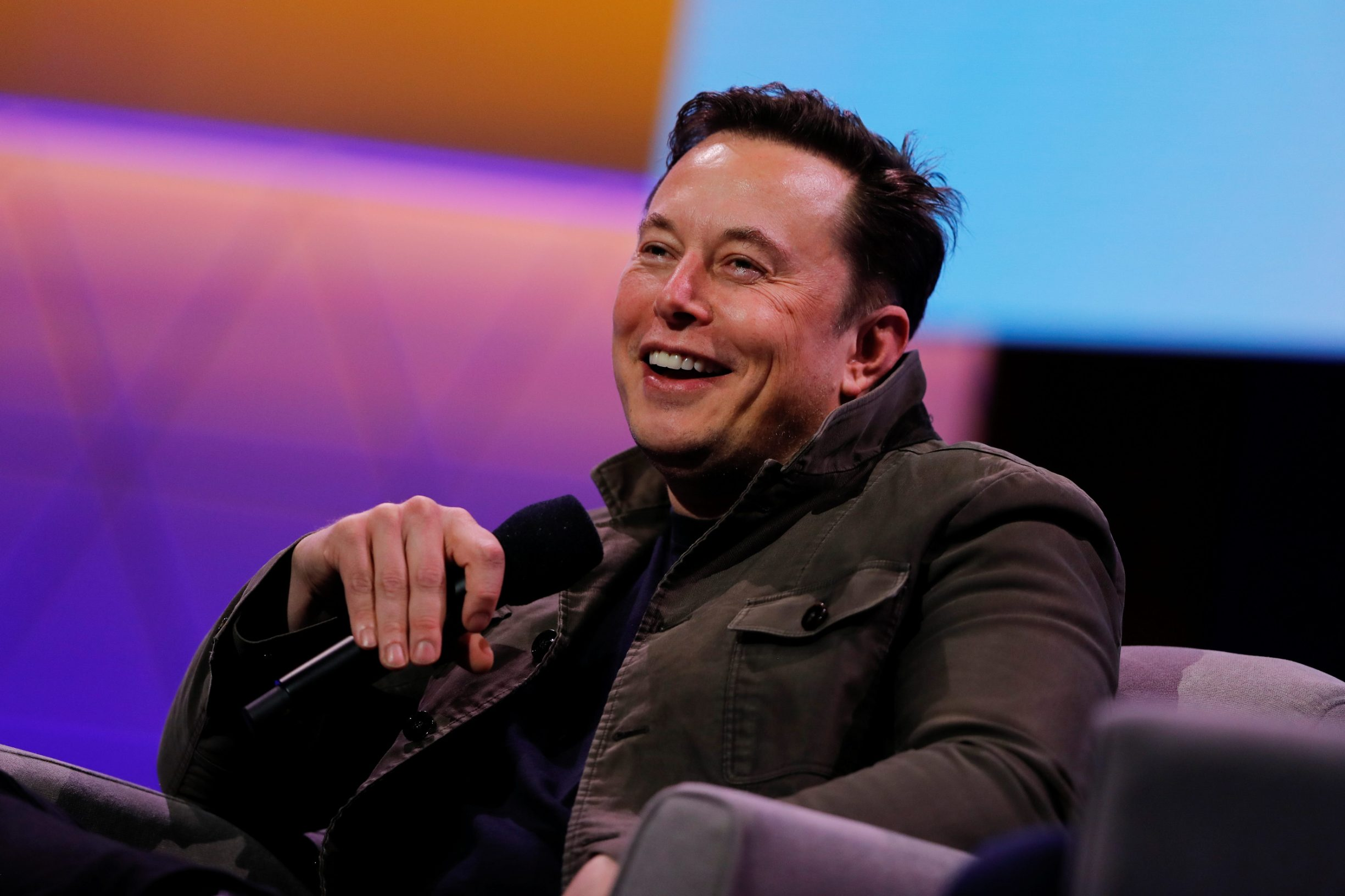 SpaceX owner and Tesla CEO Elon Musk reacts during a conversation with legendary game designer Todd Howard (not pictured) at the E3 gaming convention in Los Angeles, California,.U.S., June 13, 2019.  REUTERS/Mike Blake