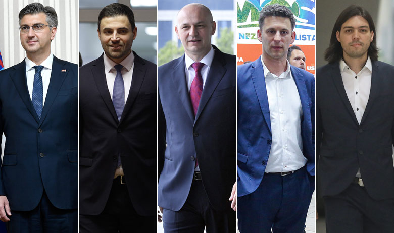 Andrej Plenković, Davor Bernardić, Mislav Kolakušić, Božo Petrov i Ivan Vilibor Sinčić