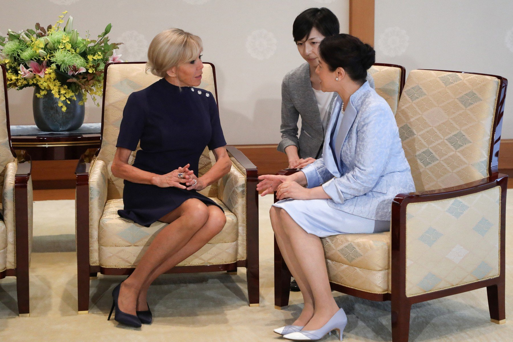 Brigitte Macron (L), the wife of France's President Emmanuel Macron, attends a meeting with Japan's Empress Masako (R), the wife of Emperor Naruhito, at the Imperial Palace in Tokyo on June 27, 2019. (, Image: 451835739, License: Rights-managed, Restrictions: , Model Release: no, Credit line: Profimedia, Abaca Press