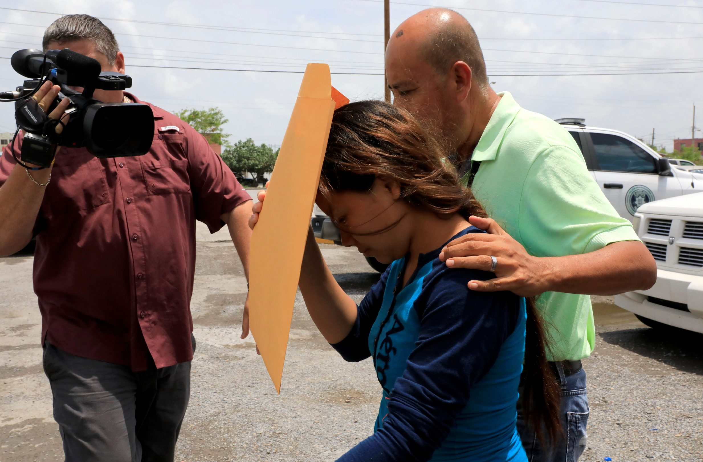 Tania Avalos, wife of Oscar Alberto Martinez Ramirez, a migrant who drowned in the Rio Grande river with his daughter Valeria during their journey to the U.S., is seen outside the morgue in Matamoros, Mexico June 26, 2019. REUTERS/Carlos Jasso