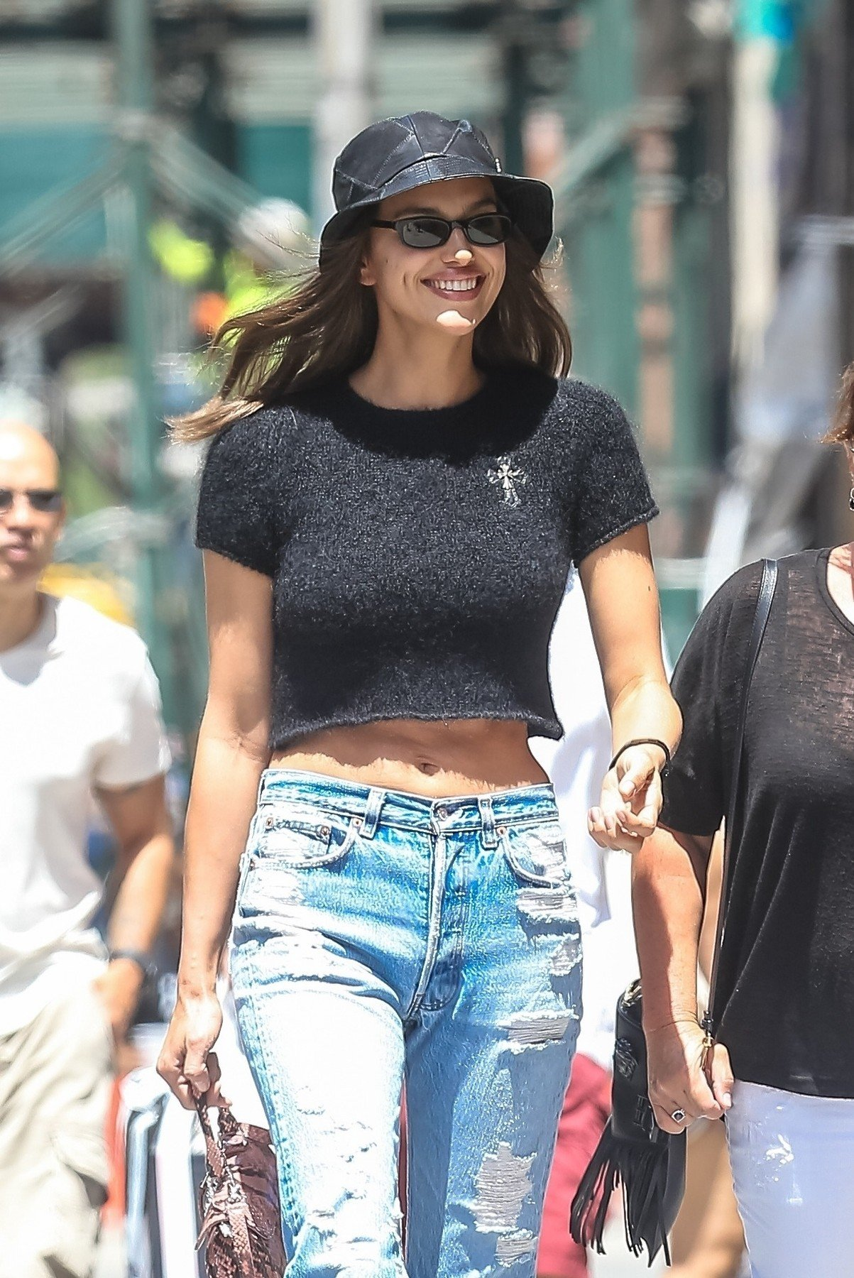 New York, NY  - Irina Shayk looks stunning showing off her toned abs in a crop top while out with her mother in the Big Apple.  *UK Clients - Pictures Containing Children Please Pixelate Face Prior To Publication*, Image: 451170234, License: Rights-managed, Restrictions: , Model Release: no, Credit line: Profimedia, Backgrid USA
