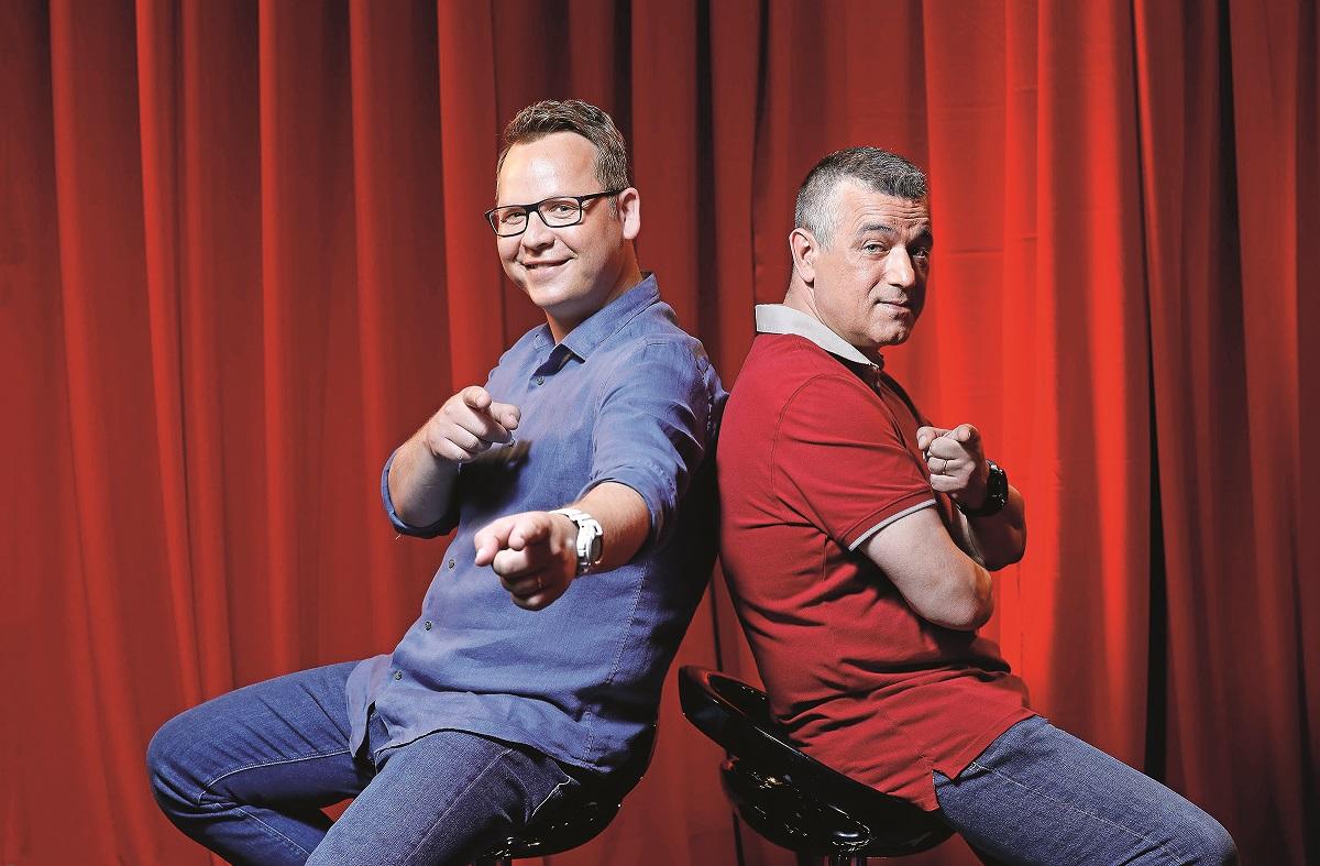 Zagreb, 240619. Jadran film. Na fotografiji: Igor Mesin i Frano Ridjan, voditelji Supertalent show Nove tv. Foto: Biljana Blivajs / CROPIX