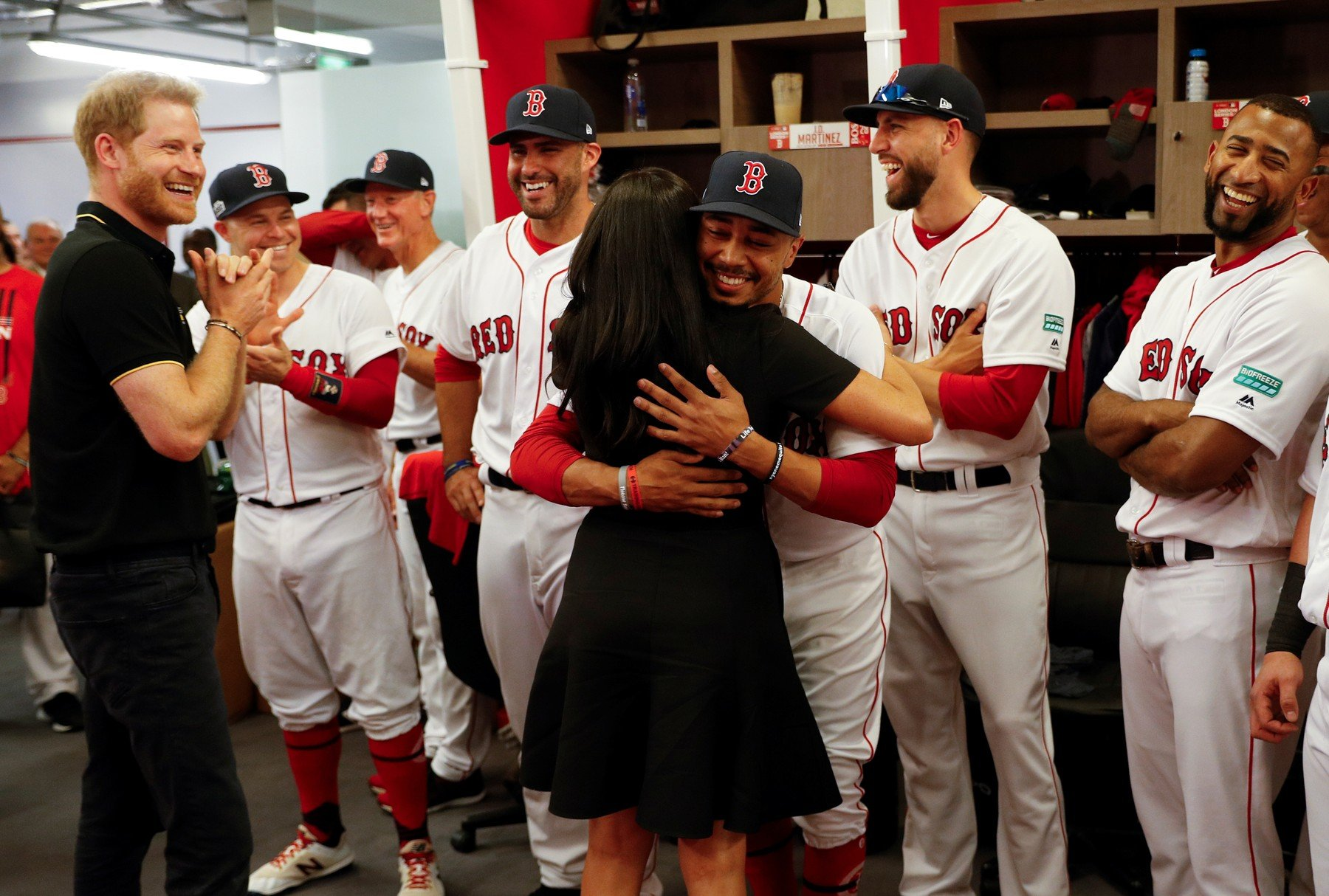 The Duke and Duchess of Sussex with players of the Boston Red Sox as they attend the Boston Red Sox vs New York Yankees baseball game at the London Stadium in support of the Invictus Games Foundation., Image: 452572285, License: Rights-managed, Restrictions: , Model Release: no, Credit line: Profimedia, Press Association