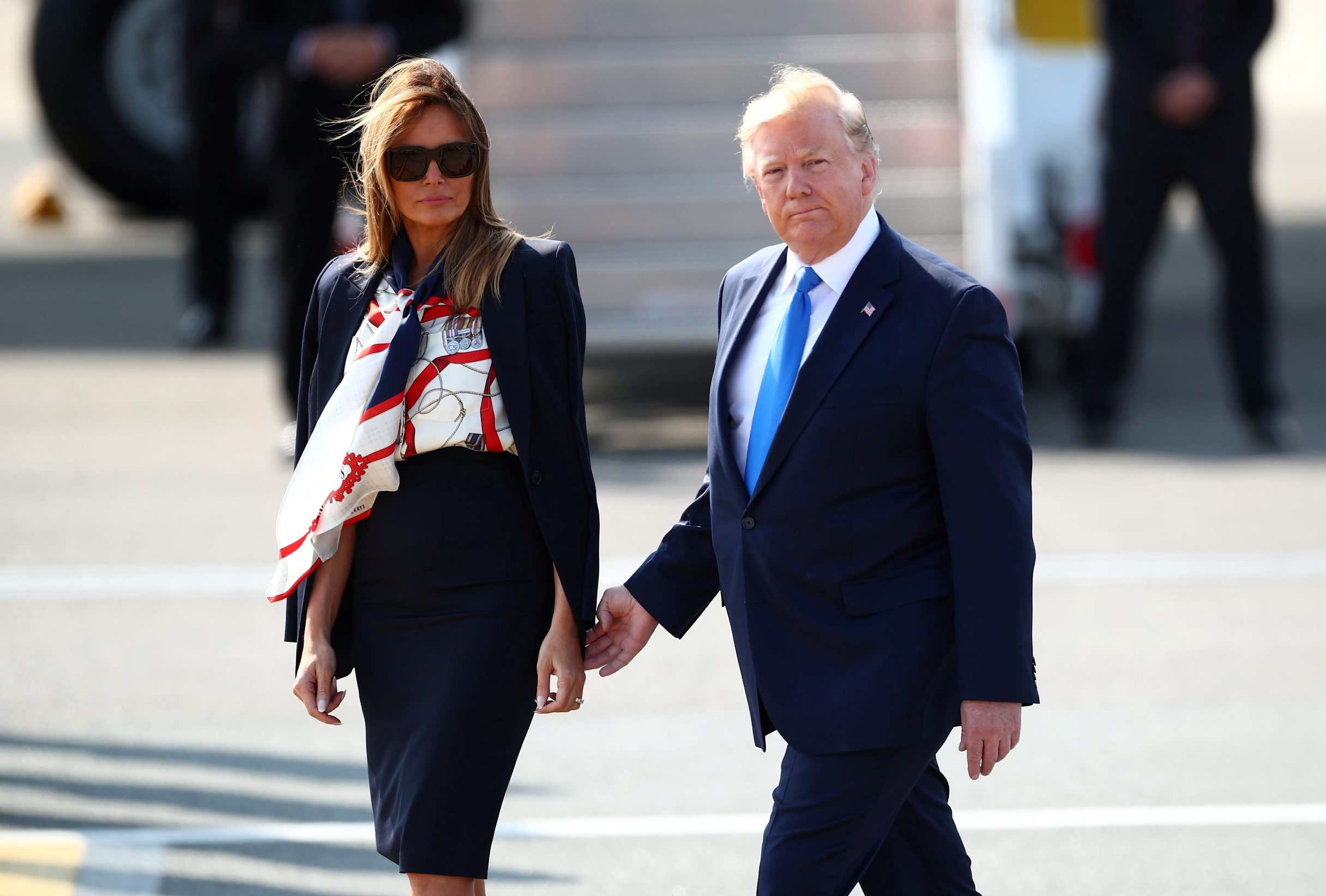 U.S. President Donald Trump and First Lady Melania Trump arrive for their state visit to Britain, at Stansted Airport near London, Britain, June 3, 2019. REUTERS/Carlos Barria     TPX IMAGES OF THE DAY