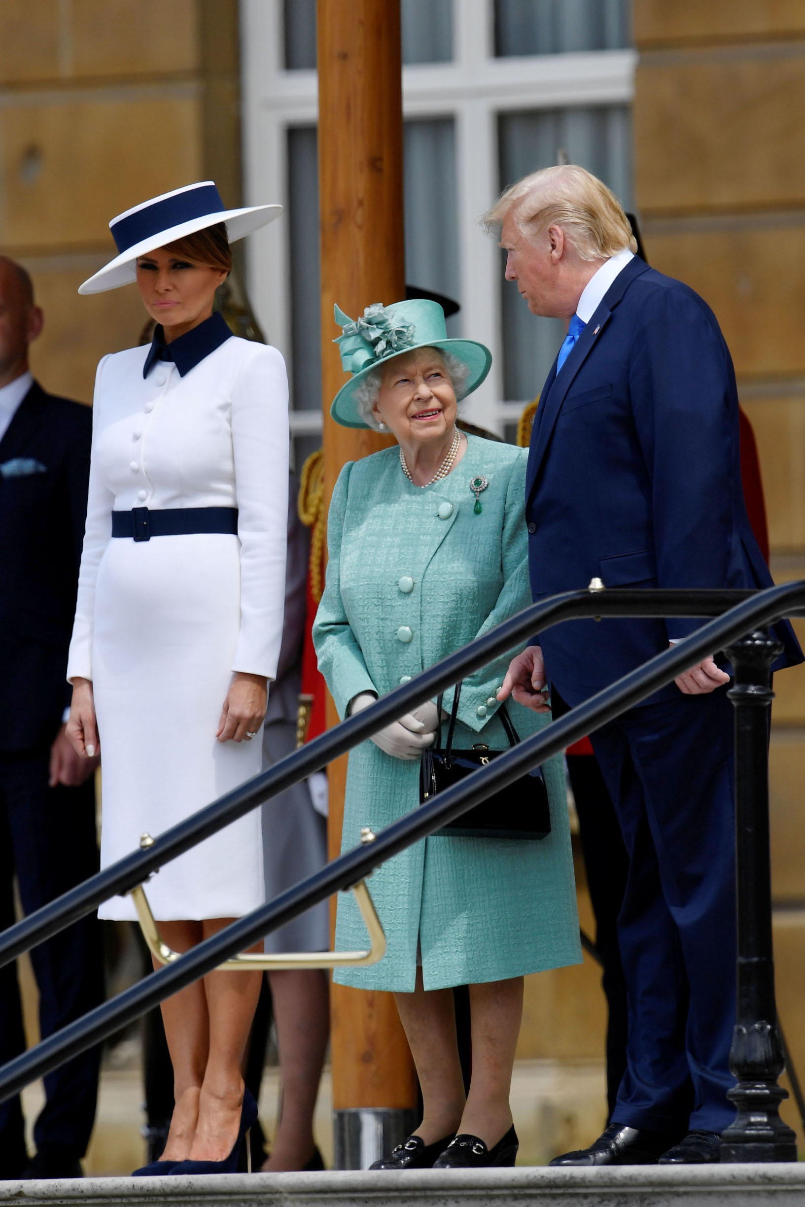 LONDON, ENGLAND - JUNE 03:  Queen Elizabeth II stands with US President Donald Trump and US First Lady Melania Trump during a welcome ceremony at Buckingham Palace on June 3, 2019 in London, England. President Trump's three-day state visit will include lunch with the Queen, and a State Banquet at Buckingham Palace, as well as business meetings with the Prime Minister and the Duke of York, before travelling to Portsmouth to mark the 75th anniversary of the D-Day landings.  (Photo by Toby Melville - WPA Pool/Getty Images)
