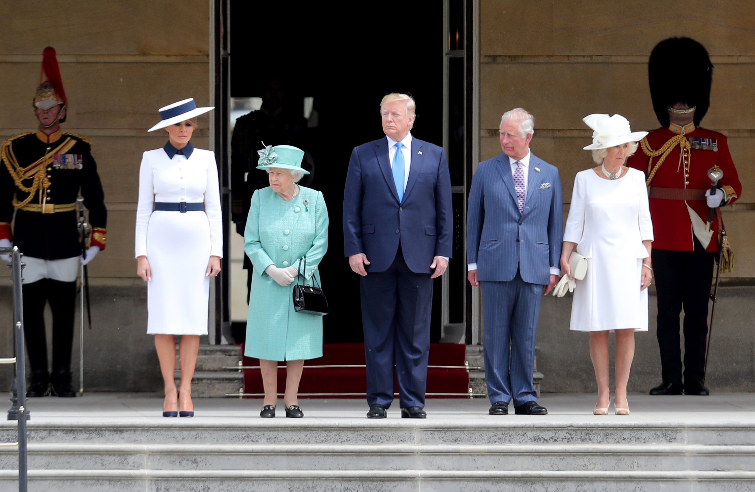 LONDON, ENGLAND - JUNE 03: Queen Elizabeth II (second left) officially welcomes US President Donald Trump (C) and First Lady Melania Trump (L) with Prince Charles, Prince of Wales and Camilla, Duchess of Cornwall (R) during their visit on June 03, 2019 at Buckingham Palace in London, England. President Trump's three-day state visit will include lunch with the Queen, and a State Banquet at Buckingham Palace, as well as business meetings with the Prime Minister and the Duke of York, before travelling to Portsmouth to mark the 75th anniversary of the D-Day landings. (Photo by Chris Jackson/Getty Images)