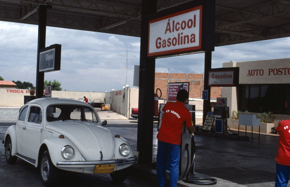 BRAZIL Petrol station. Service station selling Alcool Gaslina Gasoline from sugar. (Photo by Universal Images Group via Getty Images)