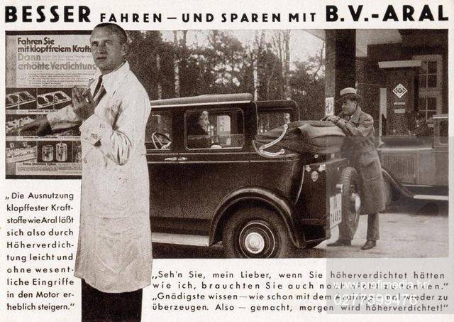 """Technik / Benzin.  """"BESSER FAHREN – UND SPAREN MIT B.V.–ARAL"""".  (Werbung des Benzol-Verbands (B.V.) für den aus dem Aromat Benzin und dem Aliphat Benzol hergestellten Kraftstoff BV-Aral). Bildpostkarte, undatiert (um 1935)., Image: 277599476, License: Rights-managed, Restrictions: , Model Release: no, Credit line: Profimedia, AKG"""